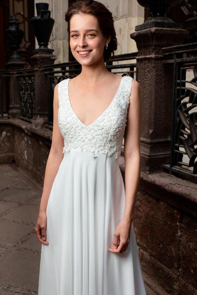 vestido novia corte imperio, bordado